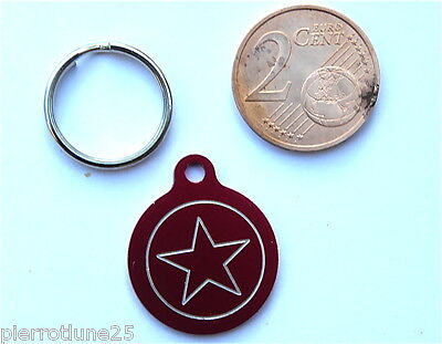 MEDAILLE GRAVEE RONDE ROUGE ETOILE STAR CHATON CHAT collier medalla cane katze