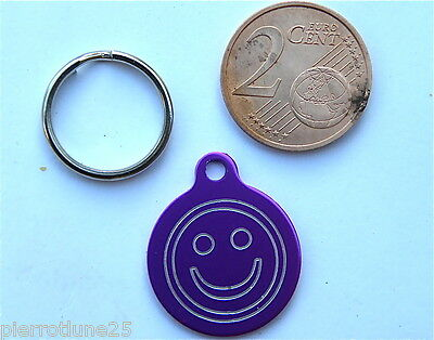 MEDAILLE GRAVEE RONDE SMILEY FUSCHIA CHATON CHAT collier medalla cane hund katze