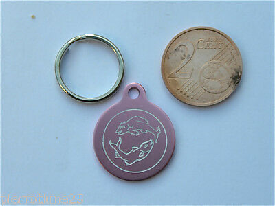 MEDAILLE GRAVEE RONDE ROSE POISSON CHATON CHAT collier medalla cane katze