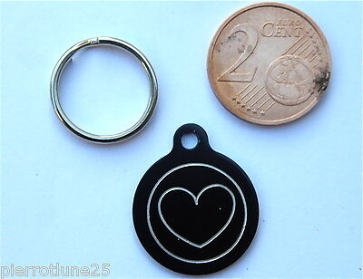 MEDAILLE GRAVEE RONDE COEUR NOIRE CHATON CHAT collier medalla cane katze