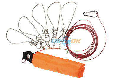 4.5 Meters 5 Locks Stainless Steel Chain Fish fishing Stringer Holder with Float