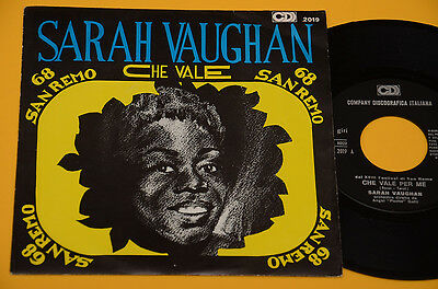 "Sarah Vaughan 7"" 45 Che Vale Per Me 1°St Orig Italy 1968 Ex+ ! Top Jazz"