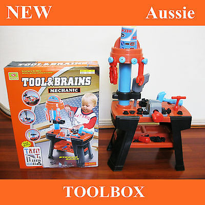 New Working Bench Tool Toolbox Building Box Children Kids Boys Pretend Set Toy