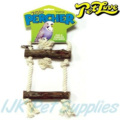 Pet Love Budgie Bird Percher Perch Deluxe Swing Rope and wood