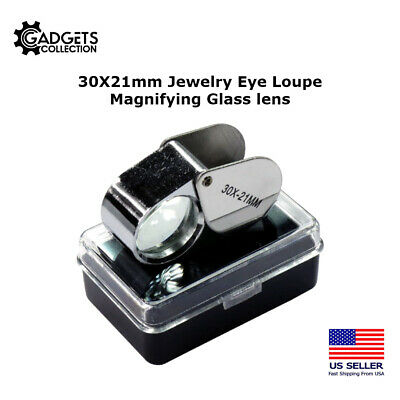 Gift Idea 30x 21mm Jewelers Loupe Magnifier Magnifying Glass Lens US FAST SELLER
