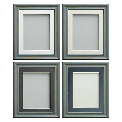Frame Company Campbell Range Wooden Rustic Blue Picture Photo Frames With Mount