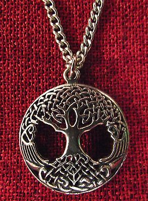 Tree of Life Celtic Mystic Silver Pewter Stainless Steel Chain Necklace