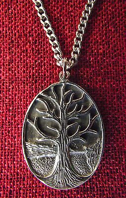 Tree of Life Celtic Medieval Oval Silver Pewter Stainless Steel Chain Necklace