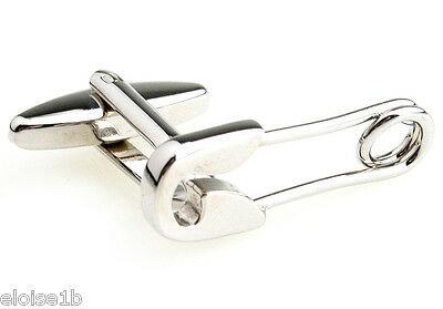 SUPERB SILVER SAFETY PIN NEW BABY CUFFLINKS, WITH VELVET POUCH, uk seller