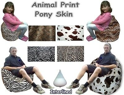Animal Faux Pony Skin Bean Bags Kids Chair Large Childrens Adults lined Beanbag