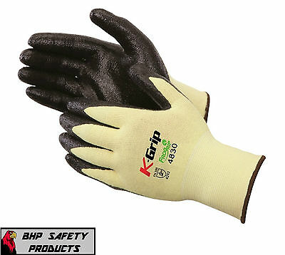 (1 Pair) Kevlar Cut Resistant Work Gloves W/ Nitrile Coating Size Medium Liberty