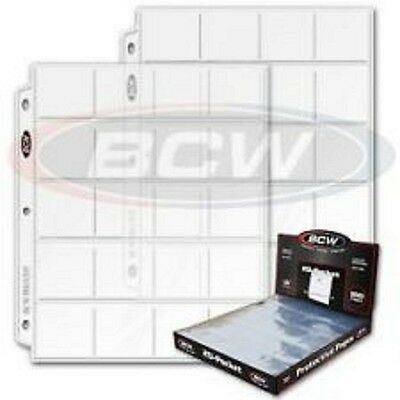 """5 Bcw Pro 20-Pocket Pages For 2"""" By 2"""" Cardboard Flips Slides Pogs Coins Coupon"""