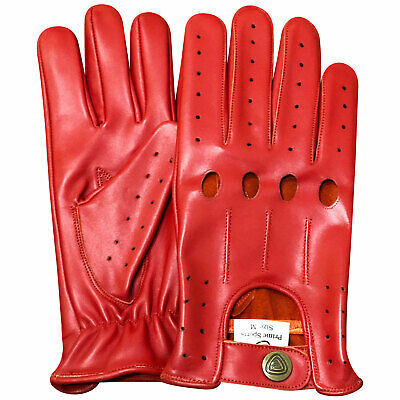 New prime top quality real soft leather men/'s driving gloves black//red stars 507