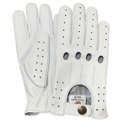 New top quality real soft leather men's driving fashion retro gloves white 507