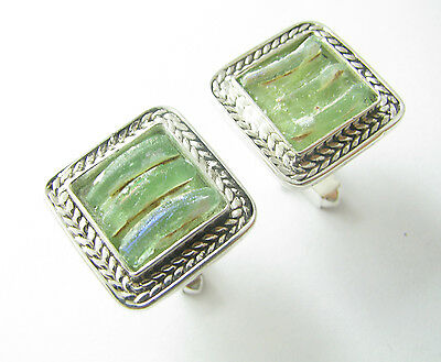Stunning Ancient Roman Glass 925 Silver Cufflinks Best Quality