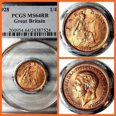 GREAT BRITAIN 1928 1/4D  FARTHIG PCGS  MS-64RB  #524