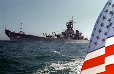 US Navy USN Battleship USS IOWA (BB-61) US Flag 8X12 Photograph