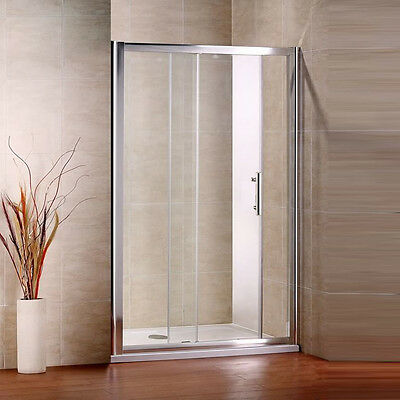 1500x700mm Walk In Sliding door shower enclosure and stone tray 6mm safety glass