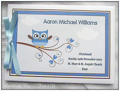 Personalised Owl Christening/ Naming Day / Guest Book /Photo Album/Scrapbook