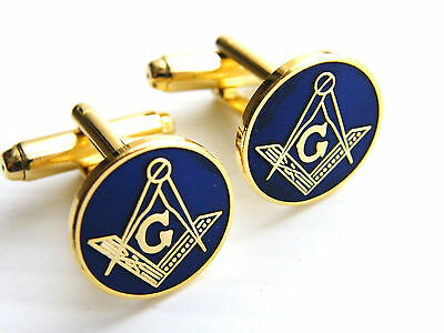 Masonic G Badge Cufflinks Square & Compass Gift Blue In Free Pouch See Options