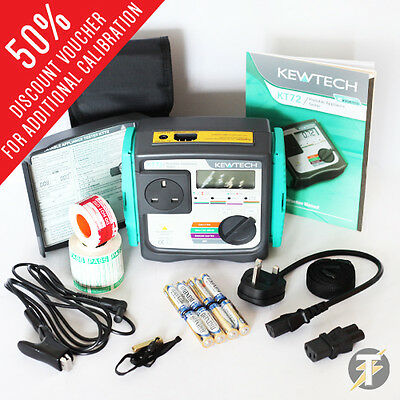 Kewtech KT72 Battery Operated PAT Tester + FREE Accessories + CALIBRATION