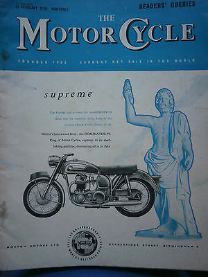 """THE MOTORCYCLE"" 13/02/1958 VINTAGE WEEKLY MAGAZINE BSA/AJS/NORTON/TRIUMPH ETC"