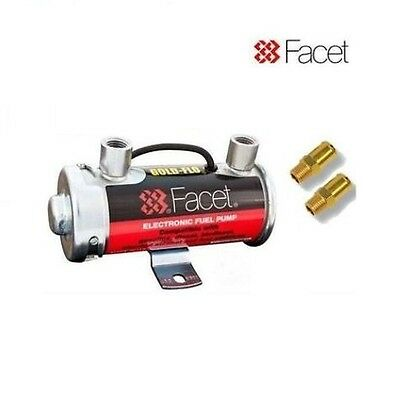 GENUINE FACET RED TOP FUEL PUMP + 8mm INLET / OUTLET UNIONS