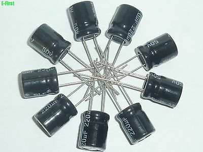 WHOLESALE NEW 100 PCS 50v 220uf 50v Radial Electrolytic Capacitor 10x13mm 105℃