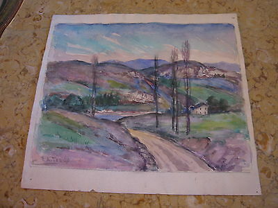 Vtg Antique Early 20th Cent. E A Trego Double Sided Pastel Watercolor Landscape