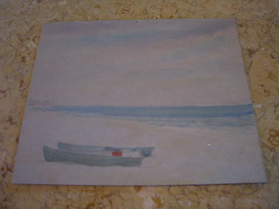 Vtg Antique Early 20th Cent. E A Trego Watercolor Painting & Pastel of Boats