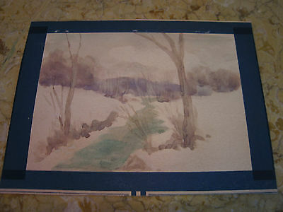 Vtg Antique Early 20th Cent. E A Trego Watercolor Painting & Pastel of Landscape