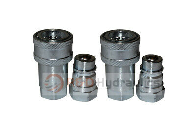 """2 Sets 1/2"""" NPT Agricultural Hydraulic Quick Disconnect Coupler ISO7241-1 ISO-A"""