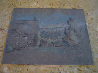 Vtg Antique Early 20th Cent. E A Trego Charcoal Drawing of Landscape & House