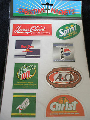 8 Christian Refrigerator Fridge Magnets Soda Pop Christ Spirit Coke Pepsi 7 Up
