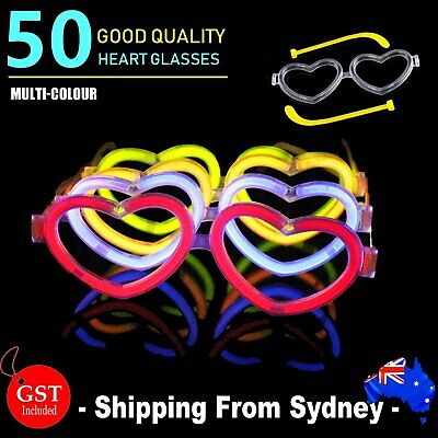 25X Multi Color glow sticks heart shaped glasses Light Party Glow In The Dark