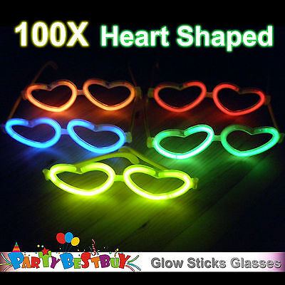 100X Multi Color glow sticks heart shaped glasses Light Party Glow In The Dark