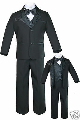 New Black Baby,Toddler & Boy Wedding Formal Tuxedo Suit S M L XL 2T 3T 4T 5,6-20