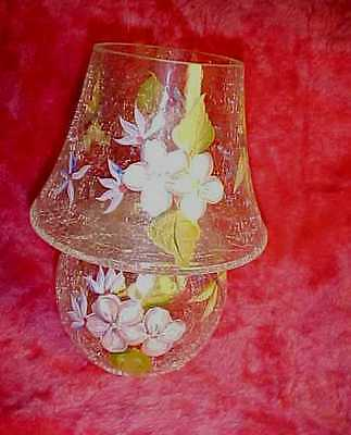 Dragonfly Fairy Lamp, CZECH Crackle Glass Hand Painted w/ Flowers Takes Candles.
