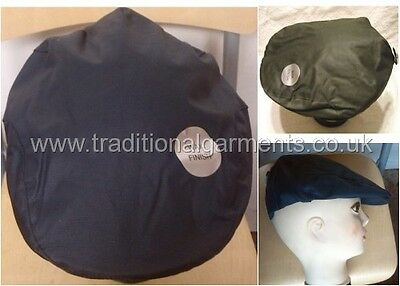 a9a46c496b8 Flat cap wax finish blue green peaked hat 100% cotton water repellent hat  lined