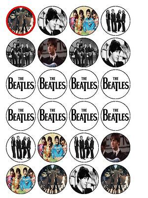 """24 x The Beatles Mix 1.5"""" PRE-CUT PREMIUM Edible Rice Paper Cup Cake Toppers"""