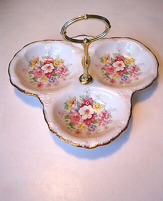 VTG 1950s ROYAL CROWN STAFFORDSHIRE~ENGLISH~DIVIDED SERVING 3BOWL DISH w/ HANDLE