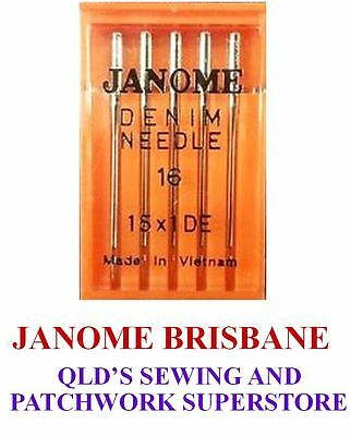 Janome DENIM Needles Size 16 For Heavy / Jeans Work 1 PKT Of 5