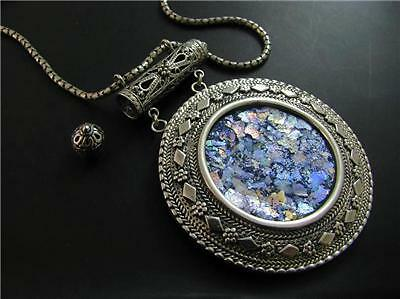 Roman Glass 925  Sterling Silver Filigree Amulet  Pendant Necklace