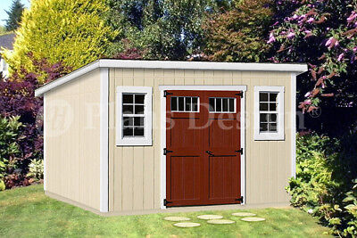 Modern Roof Style, 8' x 14' Deluxe Shed Plans, #D0814M, Material List Included