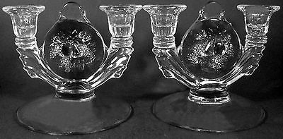 Vtg. Westmoreland Glass Clear Crystal Della Robbia Candlestick Candleholder Pair
