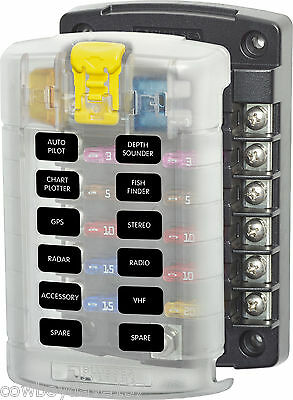 Blue Seas 5029  B 12 position fuse block with cover  Blue Sea 5029 B Fuse Panel