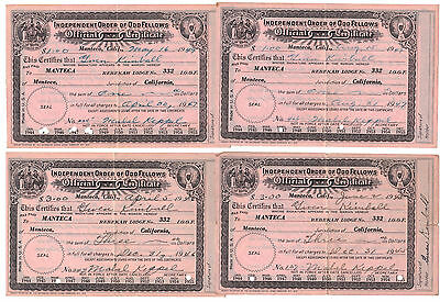 Independent Order of Odd Fellows Official Membership Certificates 1945 - 47