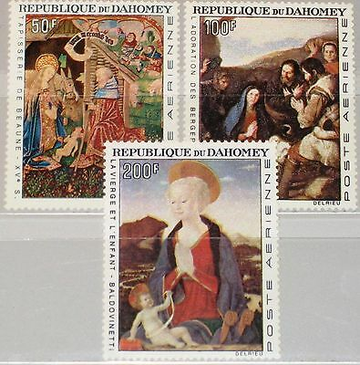 DAHOMEY 1966 293-95 C46-48 Christmas Weihnachten Religion Paintings Gemälde MNH