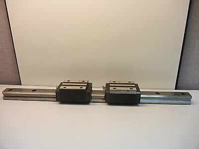 "(2) Thk Hsr35 Used Linear Guide Blocks With (1) 23 9/16"" Used Guide Rail Hsr35"