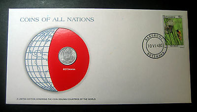 "1976 Botswana Thebe coin in a Postmarked Cover! ""Coins of All Nations Series""!"